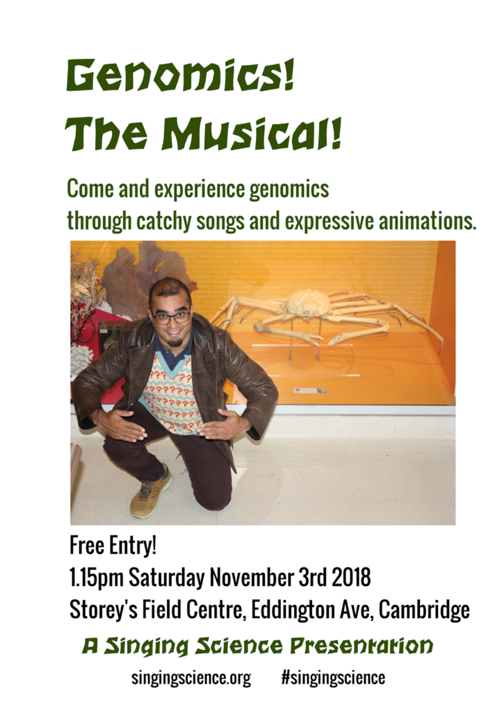 2018-11-03 flyer first Genomics The Musical gig