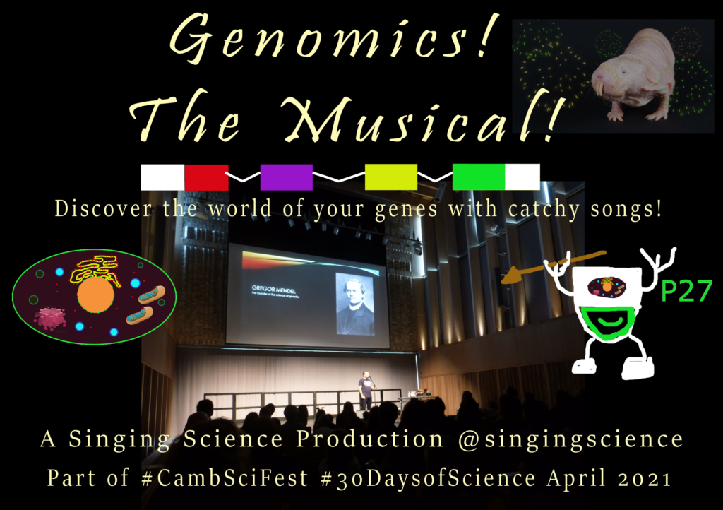 flyer for Genomics! The Musical! at Cambridge Science Festival